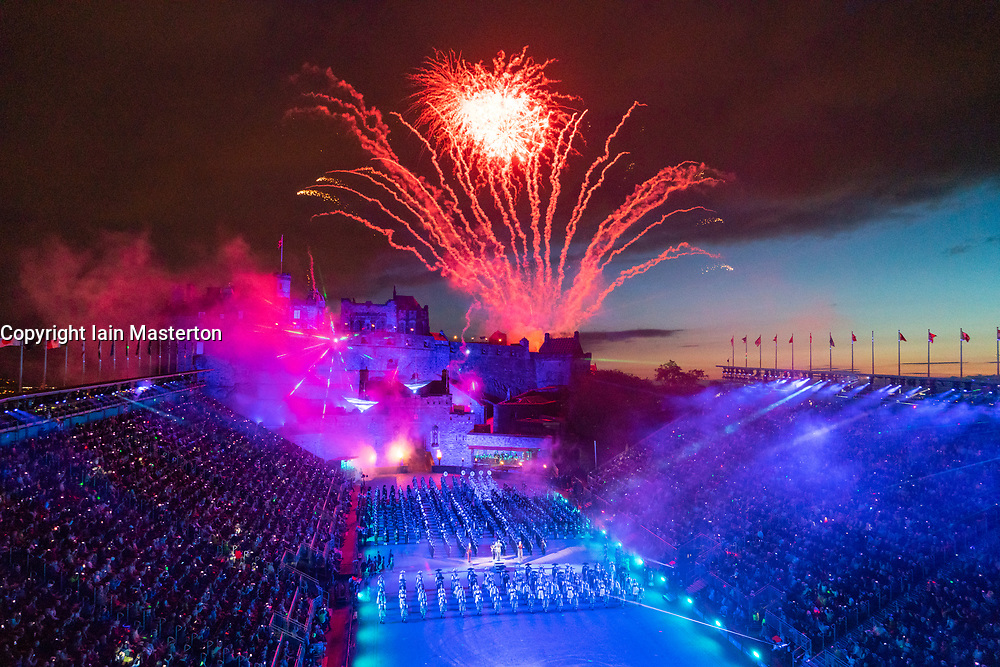 Fireworks explode in finale over the castle at the Edinburgh International Tattoo part of Edinburgh International Festival 2018 in Edinburgh, Scotland, UK