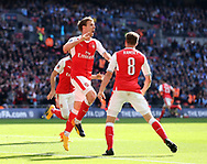 Arsenal's Nacho Monreal celebrates scoring his sides opening goal during the FA Cup Semi Final match at Wembley Stadium, London. Picture date: April 23rd, 2017. Pic credit should read: David Klein/Sportimage