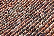 Terracotta roof tiles in France