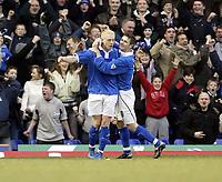 Photo. Aidan Ellis., Digitalsport<br /> Birmingham City v Bolton Wanderers.<br /> FA Barclaycard Premiership.<br /> 06/03/2004.<br /> Mikkael Forssell celebrates his goal for Birmingham with team mate Bryan Hughes