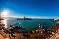 Overview of Riva degli Schiavoni (waterfront), Venice, Italy.