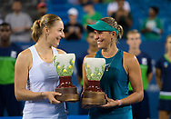 Ekaterina Makraova of Russia and Lucie Hradecka of the Czech Republic during the doubles trophy ceremony of the 2018 Western and Southern Open WTA Premier 5 tennis tournament, Cincinnati, Ohio, USA, on August 18th 2018, Photo Rob Prange / SpainProSportsImages / DPPI / ProSportsImages / DPPI