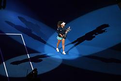 MELBOURNE, Jan. 26, 2019  Naomi Osaka of Japan reacts during the trophy awarding ceremony after the women's singles final match between Naomi Osaka of Japan and Petra Kvitova of the Czech Republic at 2019 Australian Open in Melbourne, Australia, Jan. 26, 2019. Naomi Osaka won 2-1. (Credit Image: © Elizabeth Xue Bai/Xinhua via ZUMA Wire)