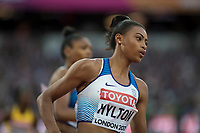 Athletics - 2017 IAAF London World Athletics Championships - Day Five, Evening Session<br /> <br /> 200m Women Round 1<br /> <br /> Shannon Hylton (Great Britain) takes the bend at the London Stadium<br /> <br /> COLORSPORT/DANIEL BEARHAM