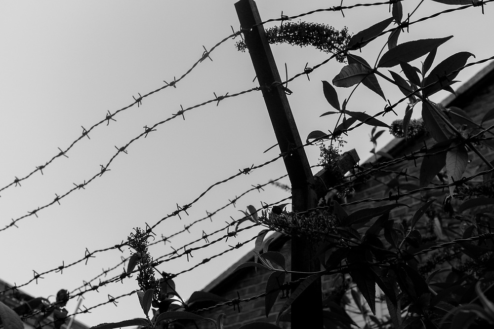 Barbed wire and concertina wire on top of wall in Dublin, Ireland.