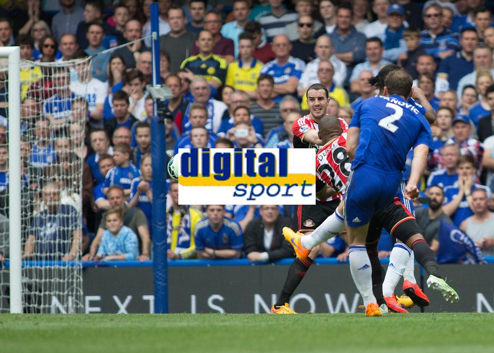 Football - 2014 / 2015 Premier League - Chelsea vs. Sunderland.   <br /> <br /> Chelsea's Branislav Ivanovic drives a shot at the Sunderland goal<br /> <br /> COLORSPORT/DANIEL BEARHAM