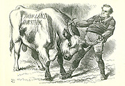 Taking the (Irish) Bull by the Horns': Bill passed by Parliament on 15 February 1870 and received royal assent on 8 July.  William Gladstone, Prime Minister, dealing with the issue. John Tenniel cartoon from 'Punch', London, 26 February 1870.