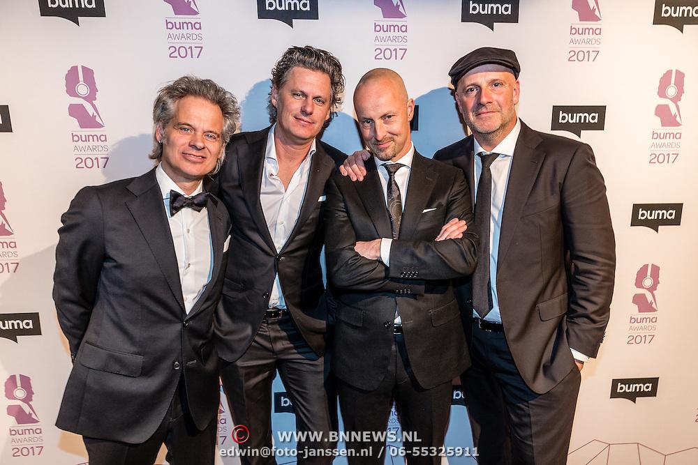 NLD/Hilversum//20170306 - uitreiking Buma Awards 2017, Peter Slager, Bas Kennis, en Paskal Jakobsen
