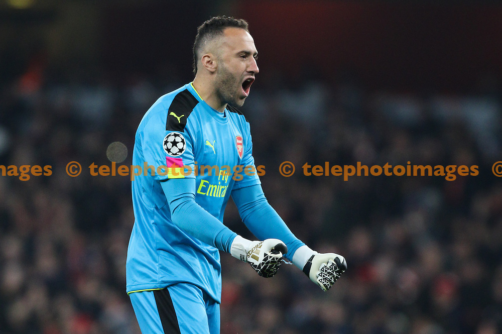 David Ospina of Arsenal celebrates the Arsenal equaliser during the UEFA Champions League match between Arsenal and Paris Saint-Germain at the Emirates Stadium in London. November 23, 2016.<br /> Arron Gent / Telephoto Images<br /> +44 7967 642437