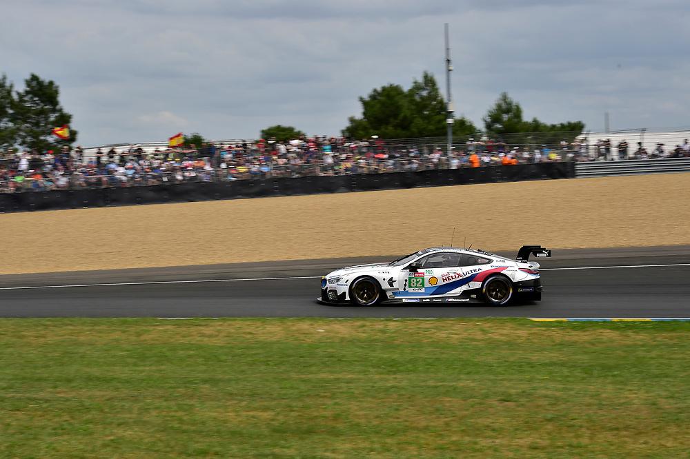 #82 BMW Team MTEK BMW M8 GTE: Antonio Felix da Costa, Alexander Sims, Augusto Farfus<br /> Saturday 16 June 2018<br /> 24 Hours of Le Mans<br /> 2018 24 Hours of Le Mans<br /> Circuit de la Sarthe  FR<br /> World Copyright: Scott R LePage