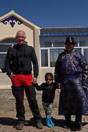 Photographer Staffan Widstrand with Mongolian Shepherd Bai Shuang Xi and his grandson, Inner Mongolia, China.