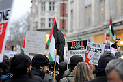 London 04/01/09: Protests outside the Israeli Embassy in London UK: Shoes were used in the protest
