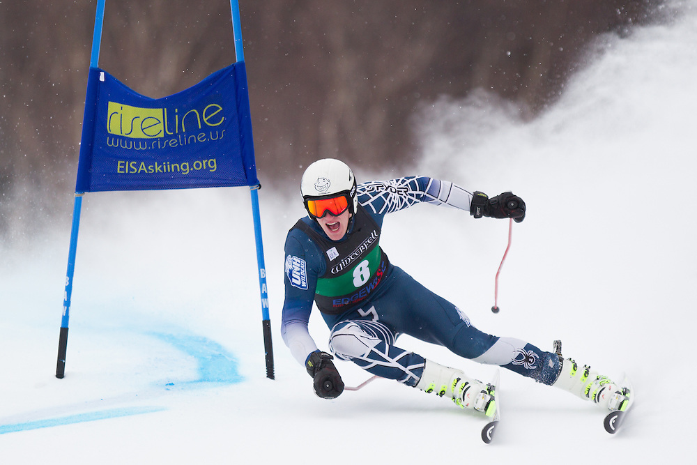 Kris Hopkins, of the University of New Hampshire, skis during the first run of the men's giant slalom of the University of Vermont Carnival on January 10, 2014 in Stowe, VT. (Dustin Satloff/EISA)