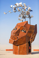 The Flybrary<br /> by: Christina Sporrong<br /> from: Taos, NM<br /> year: 2019<br /> <br /> The Flybrary is an extraordinary library within an enormous human head, partially cut open at the top allowing a flock of illuminated birds to emerge. Within the head are several levels of catwalks to climb and nooks and crannies to sit in and enjoy the selection of books. The eyes and mouth are portholes to the outside world. Up above, the open ceiling holds a large chandelier radiating soft light within. It's a dreamy, transformative space providing an intimate and surreal refuge for contemplation, written wisdom and freedom of thought.<br /> <br /> URL: https://spitfireworks.blogspot.com/<br /> Contact: spitfire4rg@gmail.com<br /> <br /> https://burningman.org/event/brc/2019-art-installations/?yyyy=&artType=H#a2I0V000001AW03UAG