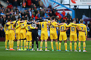 Crystal Palace players observe a minutes silence ahead of the game. Premier League match, Burnley v Crystal Palace at Turf Moor in Burnley , Lancs on Saturday 5th November 2016.<br /> pic by Chris Stading, Andrew Orchard sports photography.