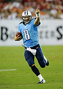 August 17, 2012, Tampa, Florida, USA;  Matt Hasselbeck of the Tennessee Titans  scrambles for a first down against the Tampa Bay Buccaneers at Raymond James Stadium.