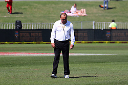 General views as umpires inspect the outfield after overnight rains yielded 65mm of rain. The super sopper dryer was brough out and next umpire is scheduled for 14h00. The first session of Day 3 is now lost due to wet outfileds during day three of the first test match between South Africa and New Zealand held at the Kingsmead stadium in Durban, KwaZulu Natal, South Africa on the 21th August 2016<br /> <br /> Photo by:   Anesh Debiky / Real Time Images