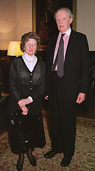 LORD & LADY GILMOUR at a reception in London on 3rd March 1999.MOZ 32