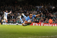 Juan Imhoff of Argentina dives over to score his late 2nd half try.   Rugby World Cup 2015 quarter-final match, Ireland v Argentina at the Millennium Stadium in Cardiff, South Wales  on Sunday 18th October 2015.<br /> pic by  Andrew Orchard, Andrew Orchard sports photography.