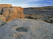 Grinding hole above Pueblo Bonito, Chaco Culture National Historical Park, New Mexico