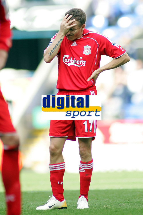 Photo: Paul Thomas.<br /> Bolton Wanderers v Liverpool. The Barclays Premiership. 30/09/2006.<br /> <br /> Craig Bellamy of Liverpool shows his dejection after the match.