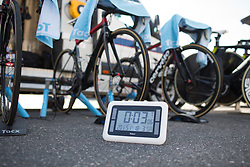 The clock is ticking before the start of the Crescent Vargarda - a 42.5 km team time trial, starting and finishing in Vargarda on August 11, 2017, in Vastra Gotaland, Sweden. (Photo by Balint Hamvas/Velofocus.com)