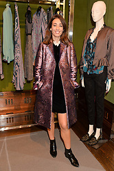 LAURA JACKSON at the opening of the exhibition 'My Mother Was A Reeler' at Etro, 43 Old Bond Street, London on 5th October 2016.