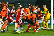Barnet goalkeeper Will Huffer (39) fails to stop a corner ball  and Brentford midfielder Josh McEachran (10) misses an opportunity to score during The FA Cup fourth round match between Barnet and Brentford at The Hive Stadium, London, England on 28 January 2019.