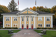 The Fort Langley Community Hall in Fort Langley, British Columbia, Canada. Designed by Vancouver architect Archibald Campbell Hope the Fort Langley Community Hall was completed in 1932 and is currently used as a Banquet Hall venue.