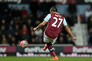 Dimitri Payet of West Ham United taking a free kick. The Emirates FA cup, 4th round replay match, West Ham Utd v Liverpool at the Boleyn Ground, Upton Park  in London on Tuesday 9th February 2016.<br /> pic by John Patrick Fletcher, Andrew Orchard sports photography.