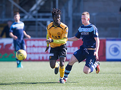 Annan Athletic's Smart Osadolor and Forfar Athletic's Thomas O'Brien. Forfar Athletic 2 v 4 Annan Athletic, Scottish Football League Division Two game played 6/5/2017 at Station Park.