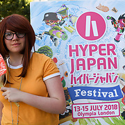 London, England, UK. 15th July 2018. Hundreds attend the Japanese culture - Hype Japan 2018 and dress up in expressions of Cosplay, Cartoon characters and much more food and sovereign stalls at Olympia London.