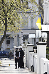 © Licensed to London News Pictures. 13/04/2019. London, UK. Police stand guard outside The Ukranian Embassy in Holland Park after shots were fired by police. Photo credit: Peter Macdiarmid/LNP