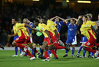 Photo: Chris Ratcliffe.<br /> Watford v Accrington Stanley. Carling Cup. 19/09/2006.<br /> Watford team celebrate the winning penalty as Stanley are gutted.