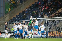 Morton's keeper Derek Gaston saves. Falkirk 1 v 1 Morton, Scottish Championship game today at The Falkirk Stadium. © Michael Schofield.