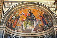 The medieval mosaic of Christ between the Virgin and St Minias (1260). .San Miniato al Monte (St. Minias on the Mountain) basilica , Florence, Italy. .<br /> <br /> Visit our ITALY PHOTO COLLECTION for more   photos of Italy to download or buy as prints https://funkystock.photoshelter.com/gallery-collection/2b-Pictures-Images-of-Italy-Photos-of-Italian-Historic-Landmark-Sites/C0000qxA2zGFjd_k<br /> .<br /> <br /> Visit our MEDIEVAL PHOTO COLLECTIONS for more   photos  to download or buy as prints https://funkystock.photoshelter.com/gallery-collection/Medieval-Middle-Ages-Historic-Places-Arcaeological-Sites-Pictures-Images-of/C0000B5ZA54_WD0s