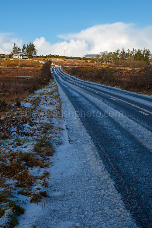 Snow covered R56 road from Killybegs to Ardara in Donegal, Ireland