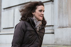 London, UK. 12 November, 2019. Theresa Villiers, Conservative PPC for Chipping Barnet, arrives at the Cabinet Office for an emergency Cobra committee meeting convened to discuss the Government's response to devastating flooding in the north of England. According to BBC reports, 39 flood warnings remained in place last night, including five severe warnings affecting the River Don in South Yorkshire.
