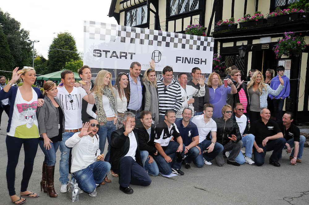 ©  licensed to London News Pictures. 10/06/2011. Cobham, UK. Several cars worth more than £2 million in total left from the picturesque Leather Bottle pub, Cobham, for this third annual Supercar Challenge which will see contestants take part in a series of challenges on the 1000 mile four day event. See special instructions for details. Picture credit should read Grant Falvey/LNP