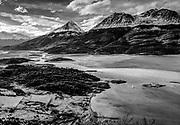 Yacht anchored in bay, Estancia Yendagaia, Agostini National Park, Isla Grande, Tierra del Fuego, Chile.