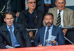 Alan Archibald an Aberdeen manager Derek McInnes. Dundee 1 v 0 Ayr United, Scottish Championship game played 10/8/2019.
