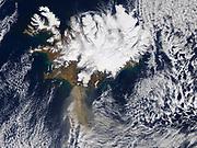 This NASA image shows the Icelandic volcano Eyjafallajökull on 17 April 2010.