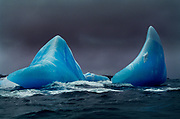 Blue iceberg fins of ancient ice, South Sandwich Islands, Scotia Sea, Antarctica