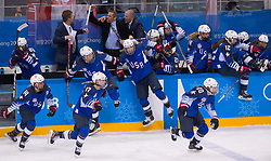 February 22, 2018 - Pyeongchang, South Korea - US Olympic Women'€™s hockey team members pour off the bench to celebrate their 3-2 overtime win over Canada in the Women's Gold Medal Ice Hockey game Thursday, February 22, 2018 at Gangneung Hockey Centre at the Pyeongchang Winter Olympic Games. Photo by Mark Reis, ZUMA Press/The Gazette (Credit Image: © Mark Reis via ZUMA Wire)