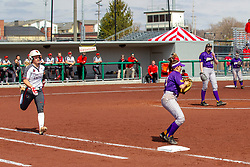 NORMAL, IL - April 06: Brittmey Krodinger puts out the runner on a throw to firstbase during a college women's softball game between the ISU Redbirds and the University of Northern Iowa Panthers on April 06 2019 at Marian Kneer Field in Normal, IL. (Photo by Alan Look)
