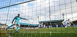 Falkirk's keeper Michael McGovern after Raith Rovers Callum Booth scored their second goal from the penalty spot.<br /> Raith Rovers 2 v 4 Falkirk, Scottish Championship game today at Starks Park.<br /> © Michael Schofield.