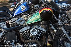 Custom Harley-Davidson Shovelhead chopper in the Cycle Source Magazine show at the Broken Spoke Saloon during Daytona Beach Bike Week. FL. USA. Tuesday, March 14, 2017. Photography ©2017 Michael Lichter.