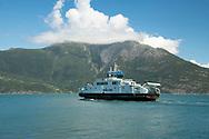 A ferry leaving the village of Utne on Hardanger Fjord, Vestlandet, Norway, Europe