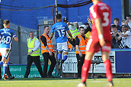GOAL Joe THOMP[SON SCORES celebrates scoring 1-0 during the EFL Sky Bet League 1 match between Rochdale and Charlton Athletic at Spotland, Rochdale, England on 5 May 2018. Picture by Daniel Youngs.