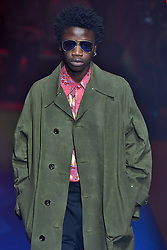 Model Cheikh Tall walks on the runway during the Gucci Fashion Show during Milan Fashion Week Spring Summer 2018 held in Milan, Italy on September 20, 2017. (Photo by Jonas Gustavsson/Sipa USA)